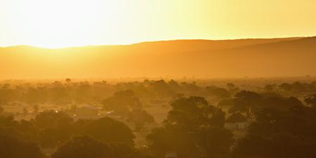 Schöne afrikanische Landschaft mit Bäumen bei Sonnenuntergang, Sossusvlei, Namib Naukluft-Nationalpark, Namibia