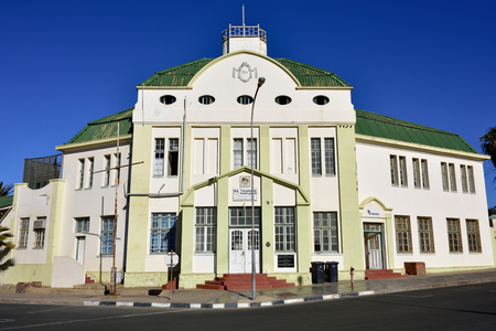 luderitz: LUDERITZ, NAMIBIA - JAN 27, 2016: The building of the Luderitz railway station in Luderitz. Built in 1914 year