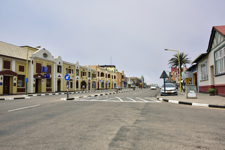 swakopmund: SWAKOPMUND, NAMIBIA - JAN 31, 2016: Street scene in Swakopmund. City was founded in 1892, by Captain Curt von Francois as the main harbour of German South West Africa. Editorial