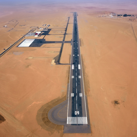 swakopmund: Aerial view on the runway of a small airfield in the Namib Desert in Swakopmund area, Namibia, Africa