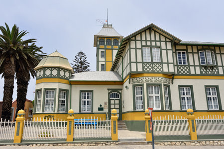 swakopmund: SWAKOPMUND, NAMIBIA - JAN 31, 2016: Typical architecture in Swakopmund. City was founded in 1892, by Captain Curt von Francois as the main harbour of German South West Africa. Editorial