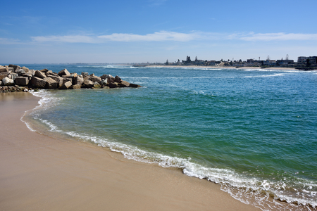 german ocean: Public beach on the ocean shore in Swakopmund. Swakopmund was founded in 1892, by Captain Curt von Francois as the main harbour of German South West Africa Stock Photo