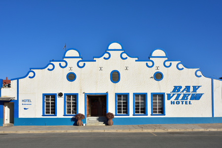 luderitz: LUDERITZ, NAMIBIA - JAN 26, 2016: Typical architecture in Luderitz - Bay view hotel, Luderitz is a harbour town in southwest Namibia, lying on one of the least hospitable coasts in Africa