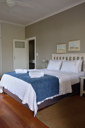 cornerstone: SWAKOPMUND, NAMIBIA - JAN 31, 2016: Accommodation unit interior at Cornerstone Guesthouse. It is a small, private, an easy walk to the sea and the town centre of Swakopmund on Namibias fascinating Skeleton Coast Editorial