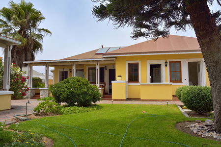 cornerstone: SWAKOPMUND, NAMIBIA - JAN 31, 2016: Accommodation units in Cornerstone Guesthouse. It is a small, private, an easy walk to the sea and the town centre of Swakopmund on Namibias fascinating Skeleton Coast Editorial