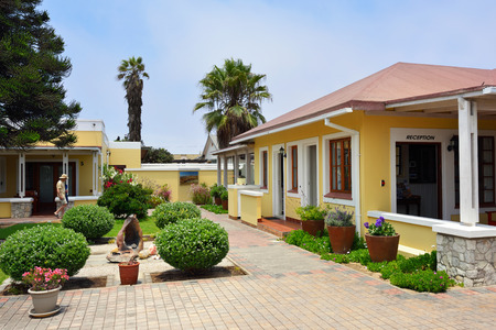 cornerstone: SWAKOPMUND, NAMIBIA - JAN 31, 2016: Accommodation units in Cornerstone Guesthouse. It is a small, private, easy walk to the sea and the town centre of Swakopmund on fascinating Skeleton Coast