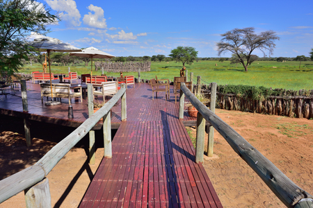 frans: WATERBERG, NAMIBIA - FEB 04, 2016: Relaxing area in Frans Indongo Lodge, one from the most famous and popular place in Waterberg region to stay and relax during safari