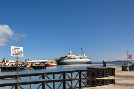 luderitz: LUDERITZ, NAMIBIA - JAN 27, 2016: Port of Luderitz. Luderitz is popular destination for a many of cruise lines Editorial