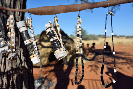 Handmade bijouterie in bushmens village. The San people, also known as Bushmen are members of various indigenous hunter-gatherer peoples of Southern Africa Stock Photo