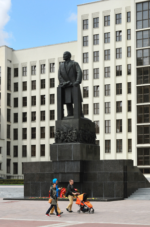 senate elections: MINSK, BELARUS - MAY 2, 2016: Lenin statue and parliament building on the Independence square in Minsk. Belarus. The building completed in 1934 together with statue