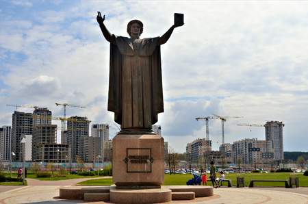 humanist: MINSK, BELARUS - MAY 2, 2016: Monument to Francysk Skaryna near National Library. Humanist, physician, translator and one of the first book printers in Eastern Europe, laying the groundwork for the development of the Belarusian language.