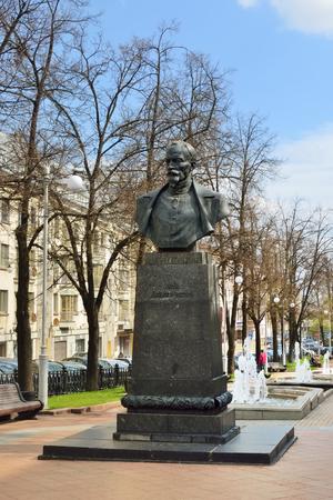 establishing: MINSK, BELARUS - MAY 2, 2016: Felix Dzerzhinsky monument in city boulevard.  Dzerzhinsky is best known for establishing and developing the Soviet secret police forces predecessor KGB Editorial