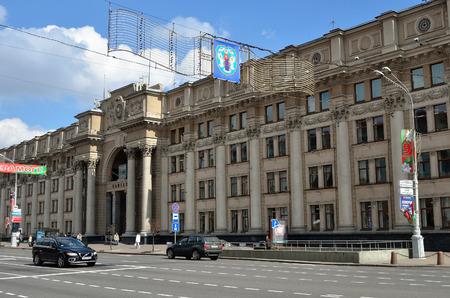 minsk: MINSK, BELARUS - MAY 2, 2016: Street scene in the center of Minsk, capital of Belarus. Old Soviet architecture