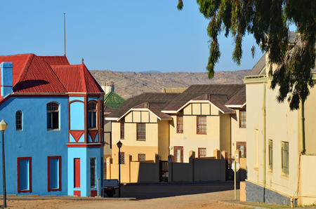luderitz: LUDERITZ, NAMIBIA - JAN 26, 2016: Typical architecture in Luderitz, Luderitz is a harbour town in southwest Namibia, lying on one of the least hospitable coasts in Africa