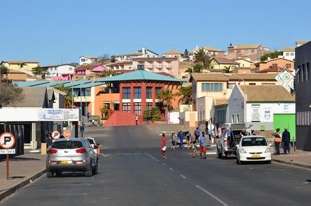 luderitz: LUDERITZ, NAMIBIA - JAN 26, 2016: Street scene in Luderitz, Luderitz is a harbour town in southwest Namibia, lying on one of the least hospitable coasts in Africa