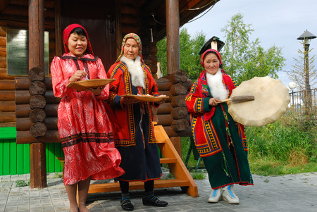 drover: YAMAL, RUSSIA - AUG 27, 2009: Small peoples of the Russian North. Yamal-Nenets Autonomous District. Khanty herder women shown in herders camp museum