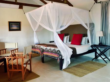 BAGATELLE, NAMIBIA - JAN 23, 2016: Accommodation unit interior at Bagatelle Kalahari Game Ranch. The lodge lies on the edge of the Southern Kalahari in the mixed tree and shrub Savanna.