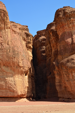 penetrated: Solomons Pillars, Timna park, Israel. The pillars were formed over 500 million years ago by rain penetrated into fissures in the sandstone Stock Photo