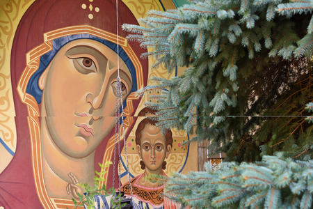 eclecticism: Madonna with Jesus Child, a fresco on the wall of Paraskeva Church. St. Paraskeva-Pyatnitsa monastery. Built in 1867. Masterpiece of old russian ortodox art. Eclecticism architecture in Dedilovo village founded in 1146, central region of Russia