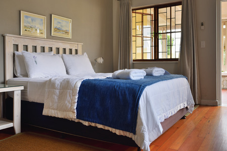 guesthouse: SWAKOPMUND, NAMIBIA - JAN 31, 2016: Accommodation unit interior at Cornerstone Guesthouse. It is a small, private, an easy walk to the sea and the town centre of Swakopmund on Namibias fascinating Skeleton Coast Editorial