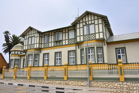 fachwerk: SWAKOPMUND, NAMIBIA - JAN 31, 2016: Typical german fachwerk architecture in Swakopmund. City was founded in 1892 as the main harbour of German South West Africa.