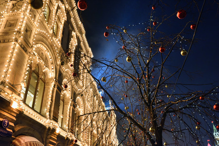 city scene: MOSCOW, RUSSIA - JAN 05, 2016: Moscow winter street scene and christmas decoration. Historical centre of the city at night, Red square and famous Main Universal Store GUM Trading House Editorial