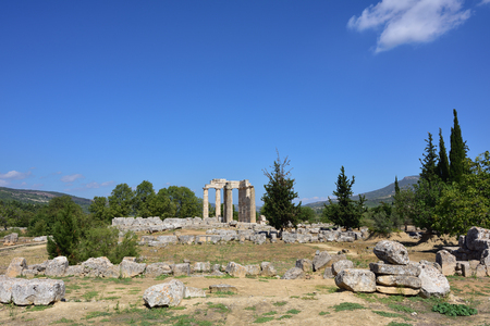 archeological site: The temple of Zeus in the ancient Nemea archeological site, Peloponnese, Greece Stock Photo