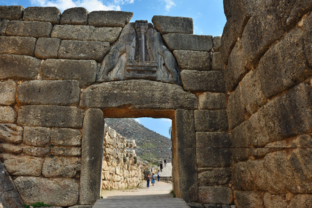 archaeological sites: Mycenae, Greece - Sept 23, 2016: The Lion Gate. The archaeological sites of Mycenae and Tiryns have been inscribed upon the World Heritage List of UNESCO