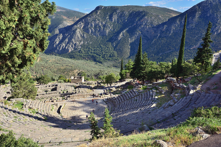 delphi: View from above on the antique Theatre in Delphi, famous archaeological site in Greece Stock Photo