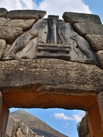 archaeological sites: The Lion Gate. The archaeological sites of Mycenae and Tiryns Stock Photo