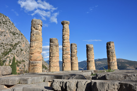 delphi: Apollo Temple in Delphi, an archaeological site in Greece, at the Mount Parnassus. Stock Photo