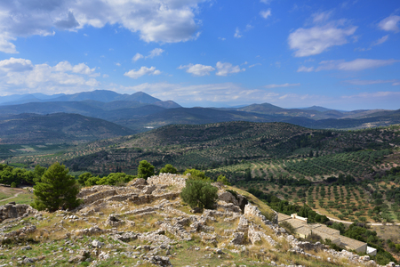View from the archaeological sites of Mycenae and Tiryns on a beautiful rural greek landscape, mountain and agricultural fields Stock Photo