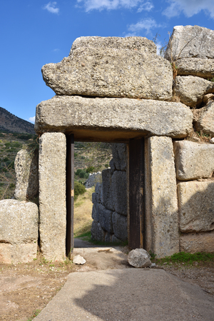 archaeological sites: The North Gate. The archaeological sites of Mycenae and Tiryns Stock Photo