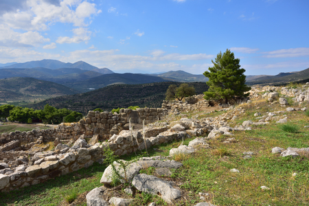archaeological sites: View on the archaeological sites of Mycenae and Tiryns on a beautiful rural greek landscape, mountain and agricultural fields