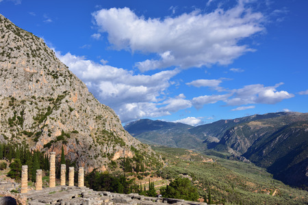 Apollo Temple in Delphi, an archaeological site in Greece, at the Mount Parnassus. Stock Photo