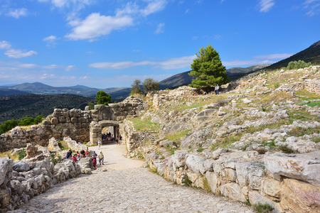 archaeological sites: Mycenae, Greece - Sept 23, 2016: People visit the archaeological sites of Mycenae and Tiryns .