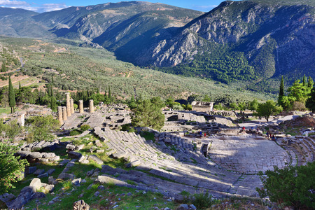 delphi: View from above on the antique Theatreand Apollo Temple in Delphi, famous archaeological site in Greece