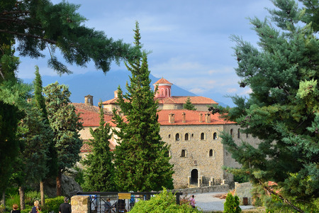 stephen: Meteora monasteries. The Holy Monastery of Saint Stephen at sunrise, Kastraki, Greece Stock Photo