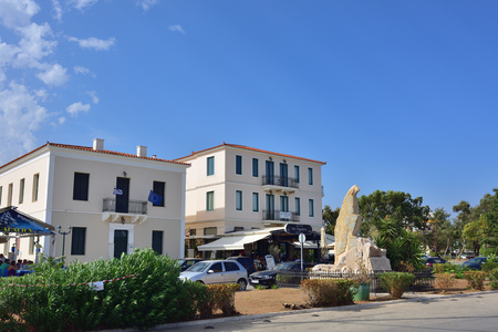 brigt: Lavrion, Greece - Sept 18, 2016: Seafront in small town Lavrion in Attica. Greece very popular place of destination for spending time during vacation Editorial