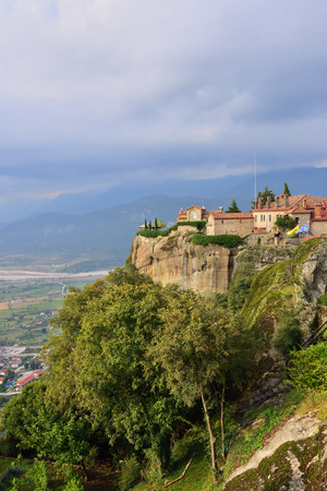 Meteora monasteries. Beautiful view on the Holy Monastery of Saint Stephen placed on the edge of high rock, Kastraki, Greece Stock Photo