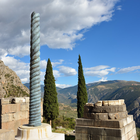 delphi: Ancient column in Ancient Greek archaeological site of Delphi, Central Greece Stock Photo