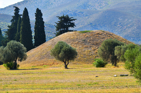 The tumulus or burial mound of the 192 Athenian  fallen at the Battle of Marathon also called the Soros, which was erected near the battlefield Stock Photo