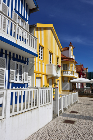 Costa Nova, Portugal – June 10, 2017: Famous resort on the Atlantic coast in Beira Litoral, Portugal. Popular tourist destination to spend vacation time Imagens - 80664546
