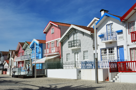 Costa Nova, Portugal – June 10, 2017: Famous resort on the Atlantic coast in Beira Litoral, Portugal. Popular tourist destination to spend vacation time Editorial