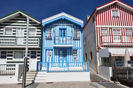 Costa Nova, Portugal - June 10, 2017: Famous resort on the Atlantic coast in Beira Litoral, Portugal. Popular tourist destination to spend vacation time Editorial