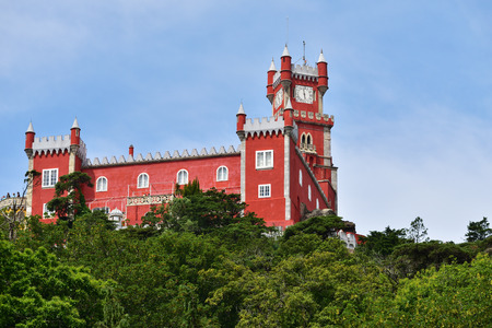 Panoramic view of Pena National Palace in Sintra in a beautiful summer sunrise, Portugal Editorial