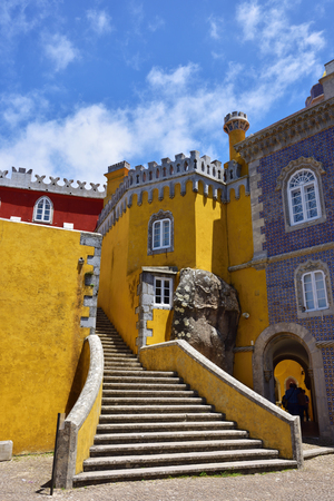 plastered wall: Inside of Pena National Palace in Sintra in Portugal.