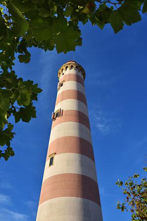 Lighthouse tower against blue sky in Costa Nova Aveiro, Beira Litoral, Portugal, Portugal Imagens