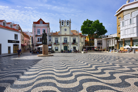 CASCAIS PORTUGAL - JUNE 8, 2017: Central square in Cascais with statue of Dom Pedro I. Cascais is famous and popular summer vacation spot for Portuguese and foreign tourists Editorial