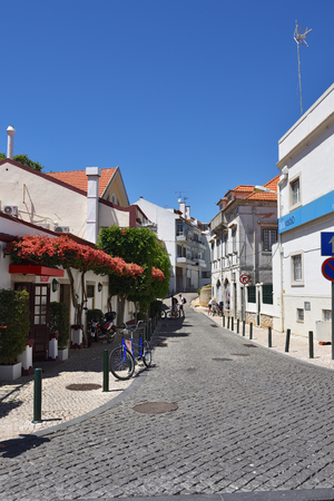 CASCAIS PORTUGAL - JUNE 8, 2017: Street with in Cascais. Cascais is famous and popular summer vacation spot for Portuguese and foreign tourists